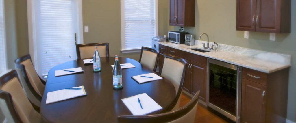 Majestic penthouse set up for business meeting