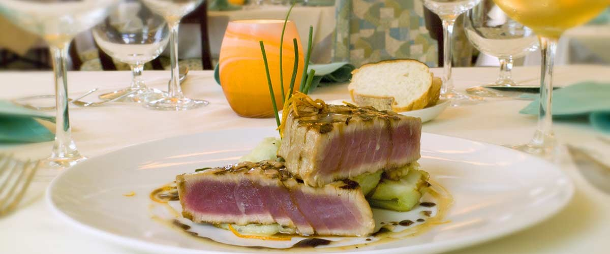 European fine dining tuna steak